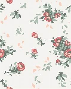 ivory hipster vintage flowers retro floral roses pixel art ...