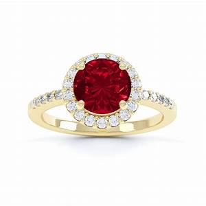 Eternity 1ct Ruby And Diamond Halo 18ct Yellow Gold