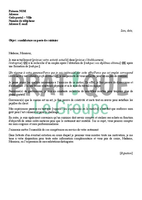 offre d emploi cuisine collective lettre de motivation pour un emploi de cuisinier pratique fr