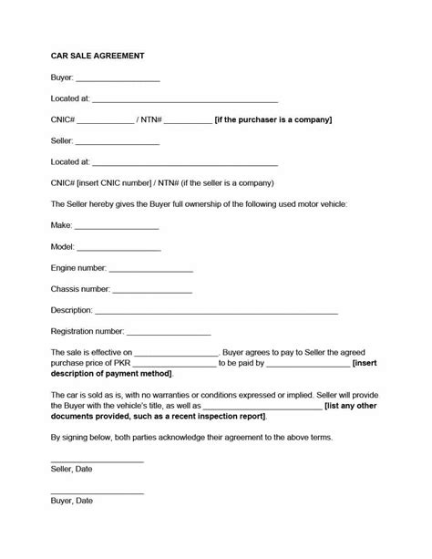 printable vehicle purchase agreement templates