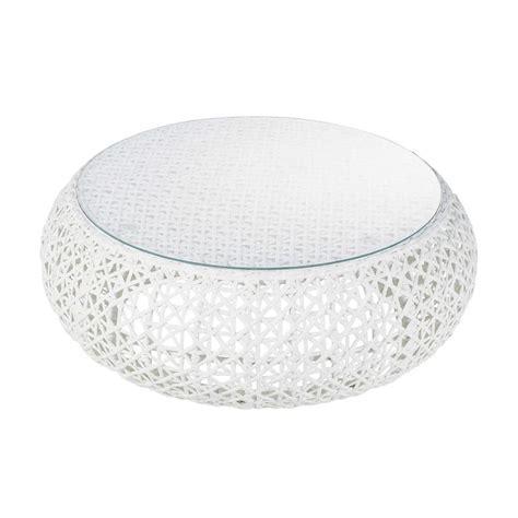 table basse de jardin en verre tremp 233 et r 233 sine tress 233 e blanche l 92 cm durban maisons du monde