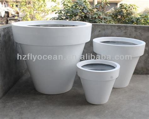 Fo-306 Large White Flower Pots And Vases Fibre Glass