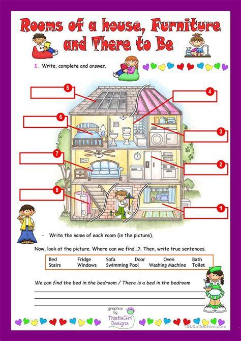 rooms   house worksheet  esl printable worksheets
