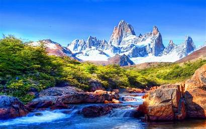 Scenery Mountain Snow River Covered Wallpapers Rocks
