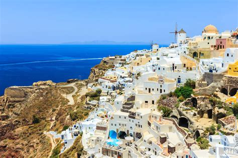 Beautiful City Of Oia On Santorini Island In Greece Stock