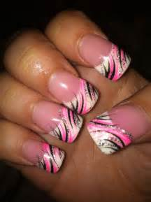 Pink black nail design my art