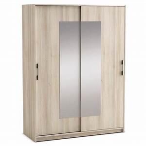 Porte De Penderie : armoire penderie 2 portes coulissantes et double miroirs acacia et blanc perle cadix dya ~ Teatrodelosmanantiales.com Idées de Décoration