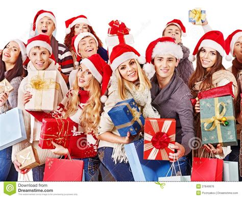 group people and christmas tree royalty free stock image