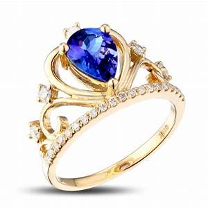 unique 1 carat pear cut sapphire and diamond crown shape With crown wedding rings for her