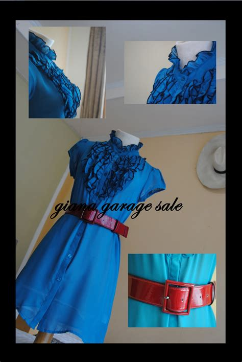 gianna garage sale dress biru belt merah