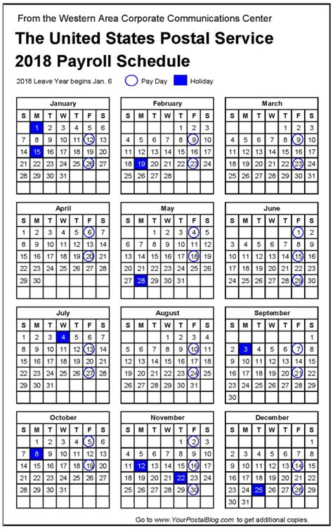postal payroll calendar postal blog