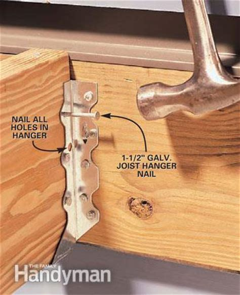 Floor Joist Hangers Sizes by How To Install Joist Hangers The Family Handyman
