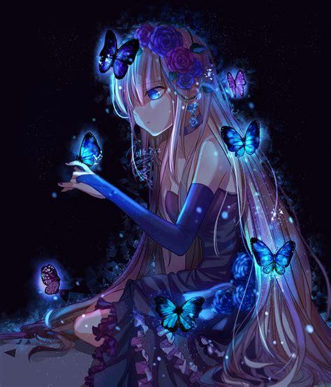 Wallpaper Illustration Long Hair Anime Girls Blue