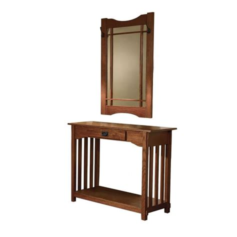Powell Mission Oak Storage Console Table And Mirror993