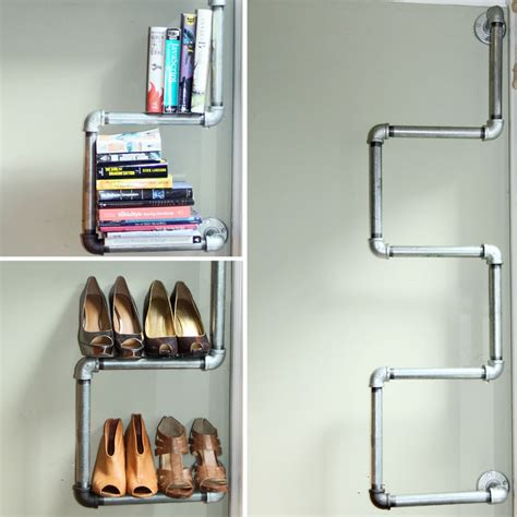 how to diy closet shelves of metal pipes with their