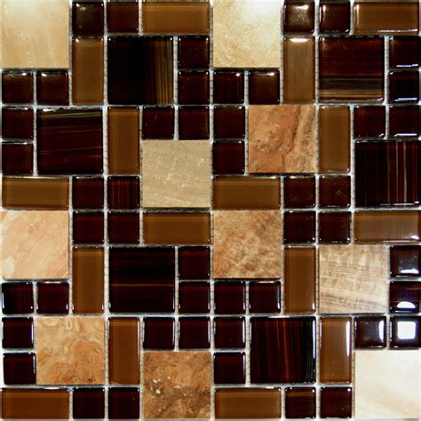 1sfbrown Random Square Pattern Marble Stone & Glass
