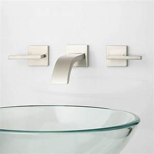 Ultra wall mount bathroom faucet lever handles wall for How to install a faucet in the bathroom