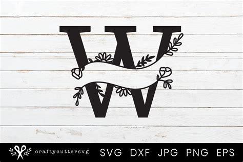 split monogram letter handdrawn botanical flower leaves