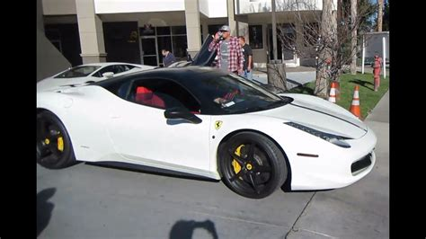 white ferrari  italia  red interior youtube