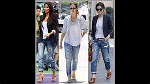 Outfits con jeans y tenis - YouTube
