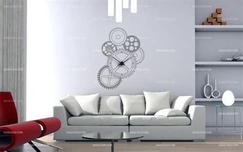 pendule cuisine design stickers engrenage horloge