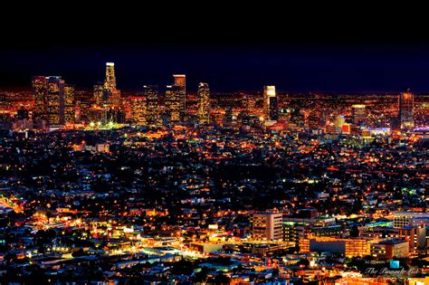 los angeles nightly light spectacle in the city of