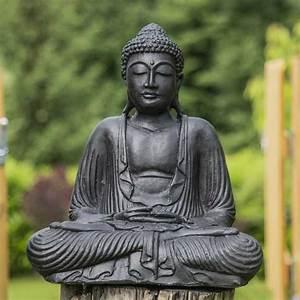 Statue Bouddha Interieur : statue bouddha assis position offrande noir 42 cm ~ Teatrodelosmanantiales.com Idées de Décoration