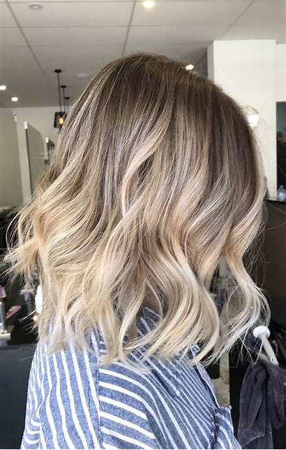 Blonde Hairstyles Balayage Hair Short Straight Lob