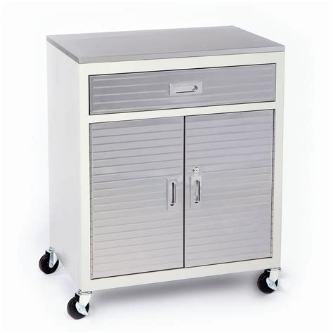 storage cabinet on wheels square white metal garage storage cabinet on wheels with