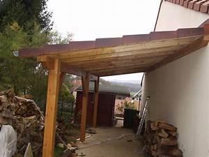 auvent terrasse appenti bois carport tradi With construire auvent de terrasse en bois