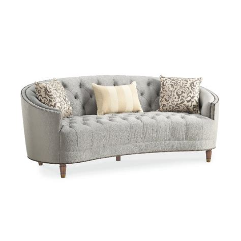 Circular Settee by Traditional Gray Curved Sofa Classic Elegance Rc