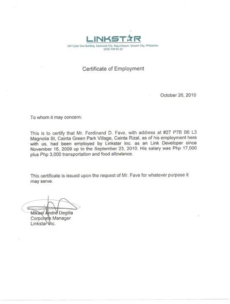 certificate  employment  employed planner