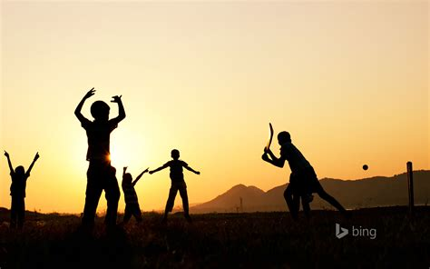 silhouette  young indian boys playing cricket wallpapers