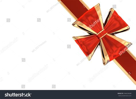 Corner Gift Bow And Ribbon Stock Photo 346634648