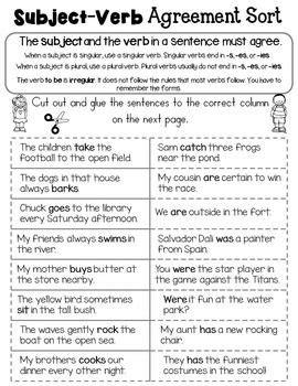 subject verb agreement set  subject verb agreement