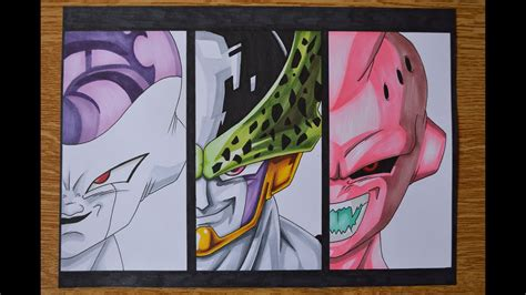drawing frieza perfect cell  kid buu vilains