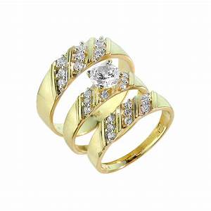 gold cz 3 piece wedding ring set With 3 piece wedding ring set