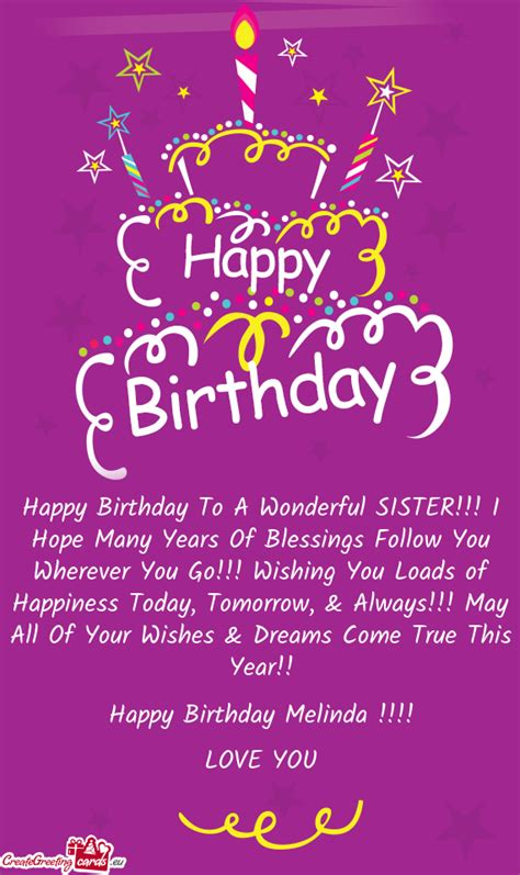 happy birthday   wonderful sister  hope  years