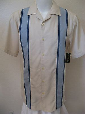 rockabilly retro bowling shirt xl beige blue panel
