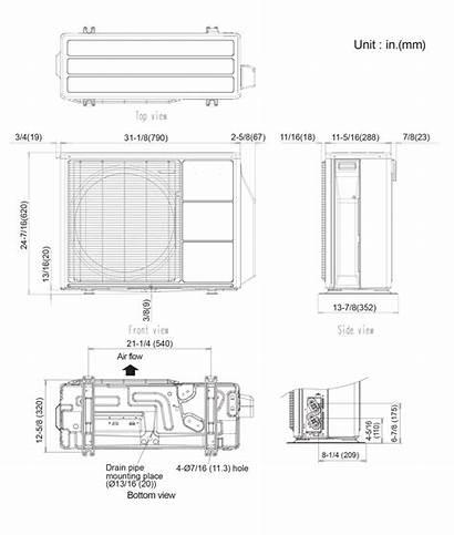 Split Wall Outdoor Dimensions Unit Mini Fujitsu
