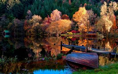 Dock Lake Trees Boat Forest Nature Reflection