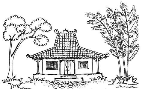 sketsa rumah adat jawa joglo