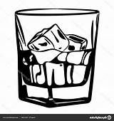 Whiskey Clipart Glass Ice Vector Illustration sketch template