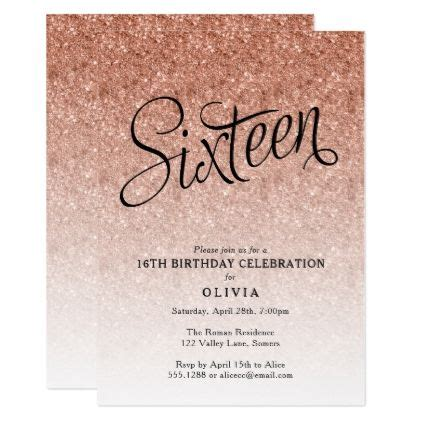 16th Birthday Invitations Templates by 16th Birthday Gold Ombre Glitter Invitation