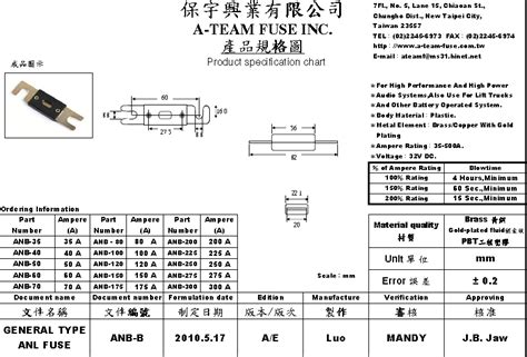 Taiwan Made Bolt On Fuse Automotive Anl Fuse 250 Amp Anl