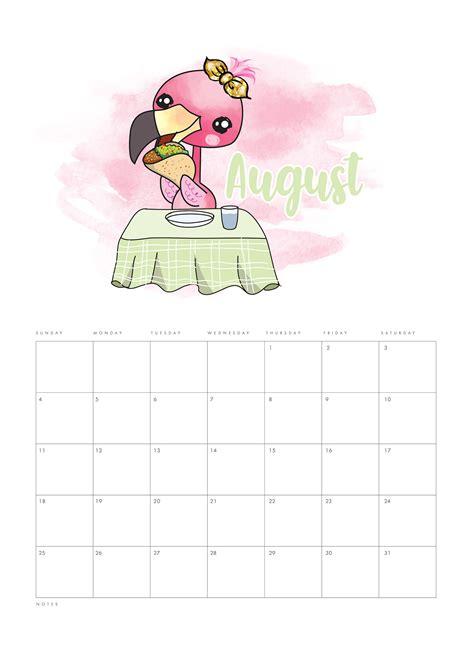 printable  funny flamingo calendar  cottage