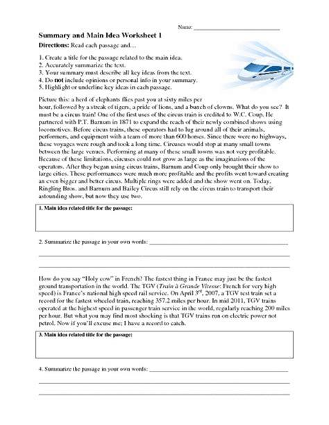 worksheets for main idea 8th grade summary and main idea worksheet 1 worksheet for 4th 8th