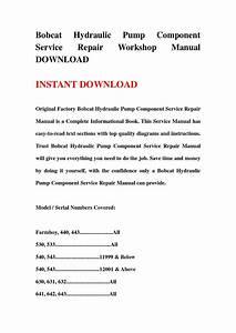 Bobcat Hydraulic Pump Component Service Repair Workshop