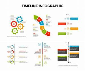 Timeline Infographics Design Set With Flat Style   Work