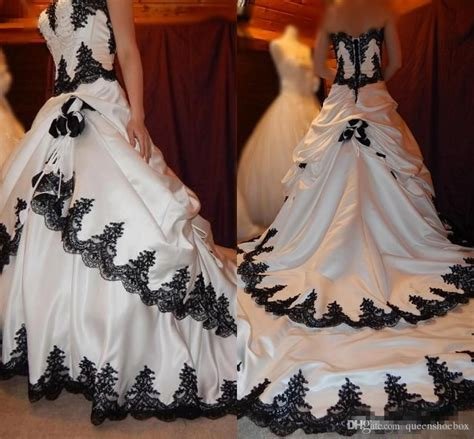discount black and white wedding dresses 2016 gothic lace
